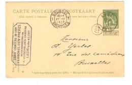 Entier CP 5c Lion C.Lede 27/6/1913 C.publicitaire Gde Chemiserie De Lede Verschelden Frères V.BXL PR3121 - Stamped Stationery
