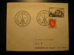 1957 PARIS To Bordeaux La Tour Eiffel Tower Monument Architecture Foir Cancel Cover FRANCE - Monuments