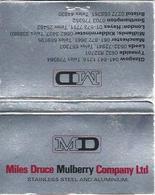 Lucifermapje - MD. Miles Druce Mulberry Company Ltd. Stainless Steel And Aluminium. Matchbox, Matches, 2 Scans - Luciferdozen