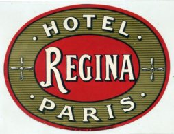 FRANCE, Paris - Regina Hotel - Luggage Label - (604) - Hotel Labels