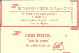 """CARNET 2319-C 2b Liberté De Delacroix """"CODE POSTAL"""" Avec PAPIER AZURANT Coté Timbres Fermé Parfait état TRES TRES RARE - Usados Corriente"""