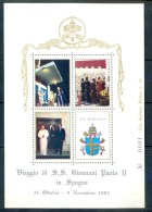 VATICAN CINDERELLA BLOCK 4v VISIT POPE JOHN PAUL II TO SPAIN 1982 * COAT OF ARMS * MAP * GOLDEN SERIES NO 0001 MNH - Blocks & Sheetlets & Panes