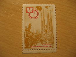 Barcelona 1960 VETERINARY La Sagrada Familia GAUDI Barcelona Modernism Architecture Poster Stamp Label Vignette SPAIN - Monuments