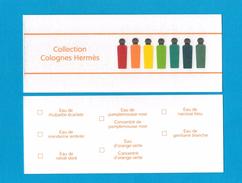 Cartes Parfumées  Carte COLLECTION 7 COLOGNES HERMES - Modernes (à Partir De 1961)