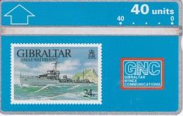 Nº 14 TARJETA DE GIBRALTAR DE UN SELLO CON UN BARCO (STAMP-SHIP) - Gibraltar
