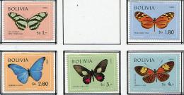 (cl.35 - P.15) Bolivie * PA N° 283 à 287 - Papillons - - Papillons