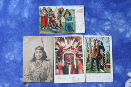 4 CP Amérindiens Indiens D'amérique Début 1900 - Cartoline