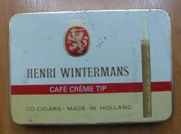 AC - HENRI WINTERMANS CAFE CREME TIP 50 CIGARS EMPTY TIN BOX - Contenitori Di Tabacco (vuoti)