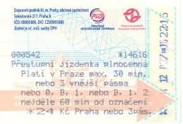 Biglietto  METROPOLITANA  PRAHA NEBO 3Pàs  Anno  2016. - Métro