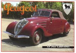 Peugeot 302 Cabriolet  -  CPM - Voitures De Tourisme