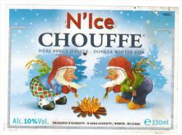 Etiquette Bière N´Ice Chouffe 330 Ml Brasserie D´Achouffe Ale Label Front + Back - Beer