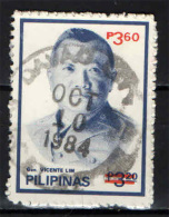 FILIPPINE - 1984 - GENERALE VICENTE LIM CON SOVRASTAMPA - OVERPRINTED - USATO - Filipinas