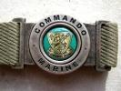 RARE INSIGNE CEINTURE BOUCLE ACIER DES COMMANDOS MARINE ETAT EXCELLENT - Navy