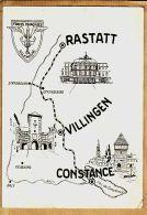 J481 CpaWW2 FORCES FRANCAISES En ALLEMAGNE Carte Géographique RASTATT VILLINGEN , CONSTANCE Offenbourg Fribourg 1950s - Weltkrieg 1939-45