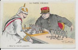 CPA échecs Chess KAISER Satirique Caricature Joffre Germany Patriotique Circulé - Chess