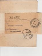 """Valenciennes  1939 Journal """" Le Lien"""" Bande Avec Cachet """"JOURNAUX PP""""  - 2 Scan - Giornali"""
