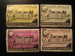 GRESILLON BAUGE 1961 Castle Chateau Esperanto 4 Poster Stamp Label Vignette FRANCE - Châteaux