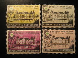 GRESILLON BAUGE 1961 Castle Chateau Esperanto 4 Poster Stamp Label Vignette FRANCE