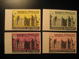 GRESILLON BAUGE 1961 Castle Chateau Esperanto 4 Imperforated Poster Stamp Label Vignette FRANCE - Châteaux