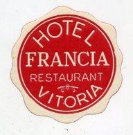 SPAIN, Vitoria - Hotel Francia - Luggage Label - (464) - Hotel Labels
