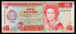 Belize 5 Dollars 1991 XF - Belize