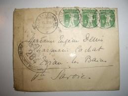 Lettre Cover  Helvetia  1918  De  POLIEZ  Le GRAND Guerre Ouvert 264  Pour EVIAN Avec Contenu - Switzerland