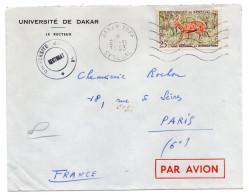 """Sénégal--1963-Lettre De DAKAR YOFF Pour PARIS--France--timbre Seul Sur Lettre Personnalisée """"Université De Dakar""""-cachet - Sénégal (1960-...)"""