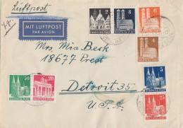 Bauten Luftpostbrief Mif Minr.73wg,75wg,77wg,79wg,87wg,74eg,80eg,85eg Gel. In USA - Bizone
