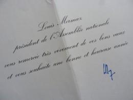 Louis MERMAZ (né 1931) PRESIDENT Assemblée NATIONALE. Député VIENNE. Autographe - Autographes