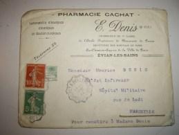 Lettre  Cover Guerre 1914  De EVIAN LES BAINS--pharmacie Cachat .E  DENIS - Marcophilie (Lettres)