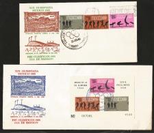 J) 1968 MEXICO, MEXICO'68 OLYMPIC GAMES, WAYMAN DESIGNS, GYMNASTICS-BOXING-PISTOL SHOOT, ATHENS 1896-MEXICO 1968, SET OF - Mexico