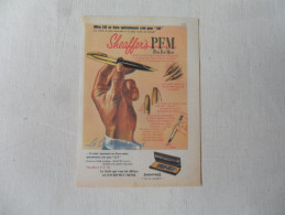 ANCIENNE PUBLICITE   STYLO  SHEAFFER'S  PFM    /    ANNEES 60 - Stylos