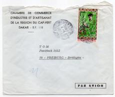 Sénégal--1971-Lettre De Dakar Pour Fribourg-Allemagne-timbre DE GAULLE-cachet DAKAR--personnalisée Chambre Commerce - Sénégal (1960-...)