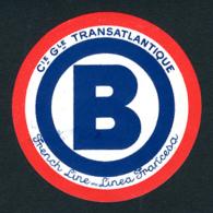 """FRENCH LINE DONT PAQUEBOT NORMANDIE - ETIQUETTE DE BAGAGE DE QUAI - LETTRE """"B"""" - Boats"""