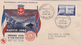 SEINE - FDC  1952  -  1er Jour  Bataille De Narvik  28 Mai 1952  - Paris    (LotFC1952_5) - Commemorative Postmarks