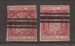 1854 Edifil 24 Barrado PAREJA - 1850-68 Reino: Isabel II