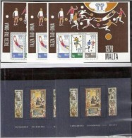 1978+80 Malta CALCIO, ARAZZI FIAMMINGHI  FOOTBALL + FLEMISH TAPESTRIES 3 Foglietti 3 Souv.sheets MNH** - Malta