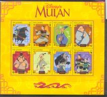 NctD136c WALT DISNEY MULAN PAARD DRAAKJE HORSE KHAN SHANG CHI-FLI SHAN-YU DRAGON MUSHU GAMBIA 1998 PF/MNH - Disney
