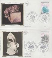 Série FDC 1996 France Fluorite, Quartz, Calcite Marcassite, Minéraux, Mineral, Minerals - Minerals