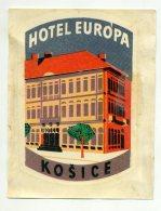 CZECHOSLOVAK Socialist Republic, CSSR, Kosice - Hotel Europa - Luggage Label  (507) - Hotel Labels