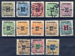 DENMARK 1918 27ø Surcharges On Newspaper Stamps Set Of 13 Used.   Michel 84-96 - 1913-47 (Christian X)