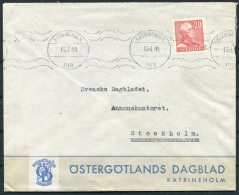 1944 Sweden Katrineholm Newspaper Illustrated Advertising Cover - Lettres & Documents