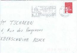 OIS-L30 - FRANCE Lettre De Riberac Avec Flamme Illust. Eglise Et Oies