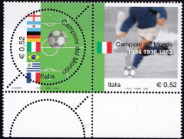 Repubblica Italiana, 2002 - Campioni Del Mondo Di Calcio, Con 12 Fori Diagonali - MNH** Nr.2701a/2702a - 2001-10:  Nuovi
