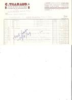 FACTURE - 87 - LIMOGES - DECORATEUR EMAIL PORCELAINE C. THARAUD - 1949 - B012 - France
