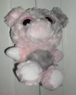 Peluche Grise Rose Et Blanche Personnage Aux Grands Yeux - Cuddly Toys