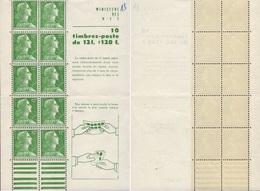 """CARNET 1010-C 1 Marianne De Muller """"Feuillet De 10 Timbres"""" Gomme Jaunâtre Main Pliant Le Carnet. - Definitives"""