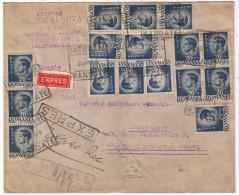 Francatura Multipla Mihai Uzuale (20 Lei 1945) Circulatie Ian 1946 - Expres Recomandata + Mandat Postal Satu Mare-Buc - 1918-1948 Ferdinand I., Charles II & Michel