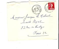 ENV. LARDY (91) - MULLER 25f ROUGE - CACHET 21 AOUT 1959 - 135 - Marcophilie (Lettres)