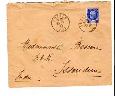 ENV. LUZECH (46) - 1f50 BLEU PETAIN SURCHARGE ROUGE 50c SECOURS NATIONAL - CACHET 23.03.1943 - 148 - Marcophilie (Lettres)